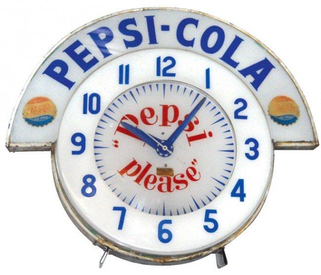 "826: Pepsi-Cola Cleveland neon clock, ""Pepsi Please"" on"
