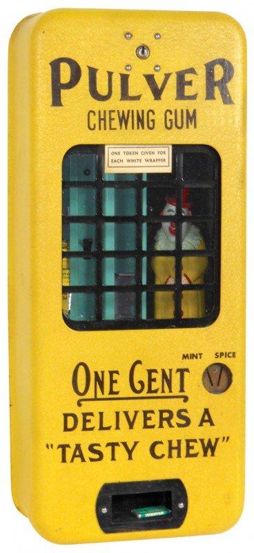 828: Coin-operator gum vendor, Pulver w/clown figure, w