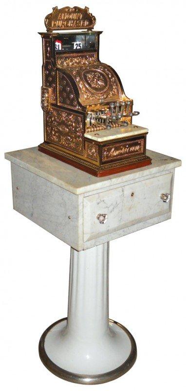 830: Koken cash register stand w/cash drwr, white marbl