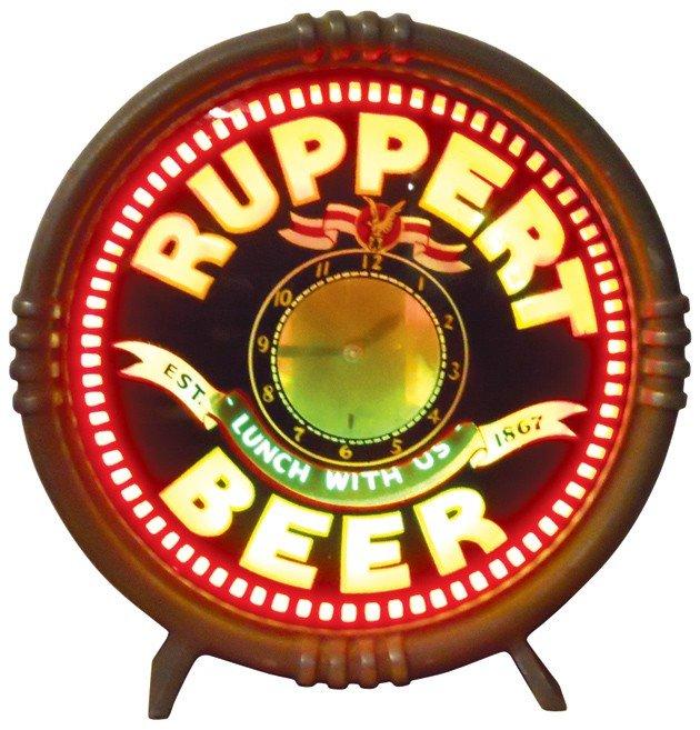831: Ruppert Beer, 3-color neon motion clock, mfgd by N