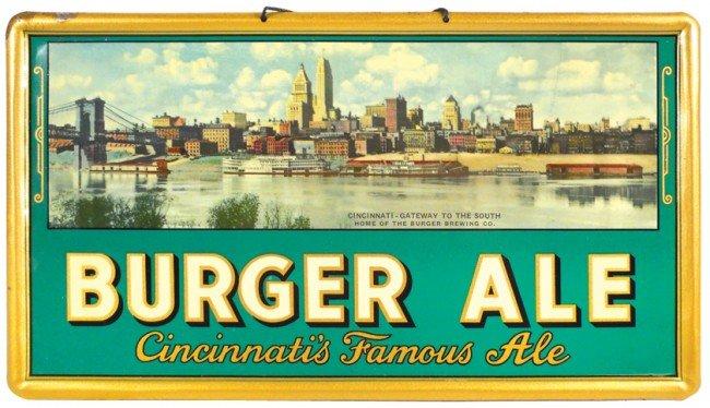 832: Burger Ale-Cincinnati's Famous Ale sign, litho on