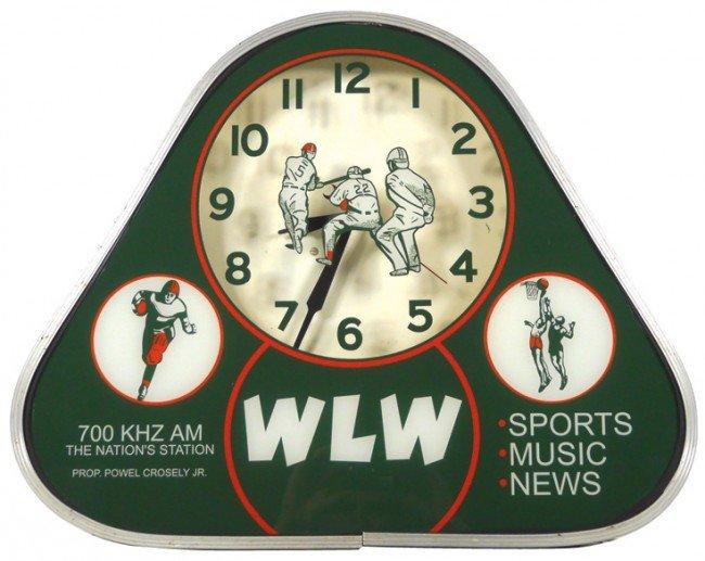 834: WLW Radio Station neon clock w/sports theme, mfgd