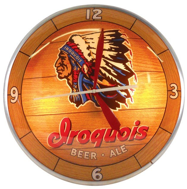 836: Iroquois Beer & Ale double-bubble light-up clock,