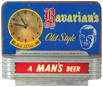 """1054: Bavarian's Old Style Beer counter sign w/clock, """""""
