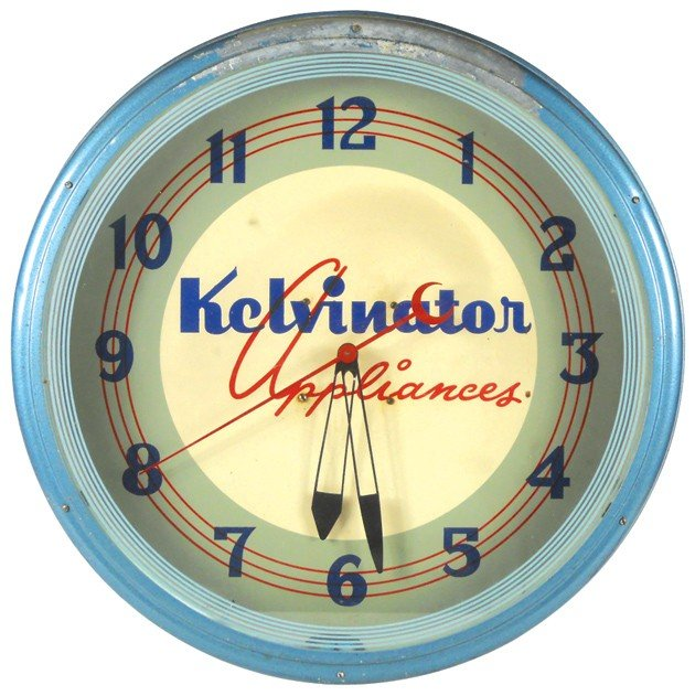 1126: Kelvinator Appliances neon clock, mfgd by Lackner