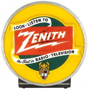 Zenith Light-up Counter Sign, Molded Plastic Face