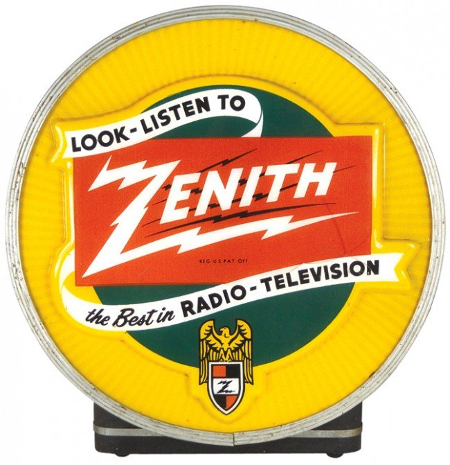 1131: Zenith light-up counter sign, molded plastic face