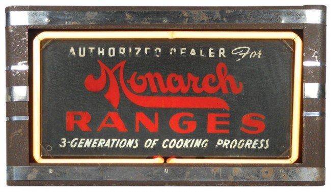 1133: Monarch Ranges neon dealer sign, some paint loss