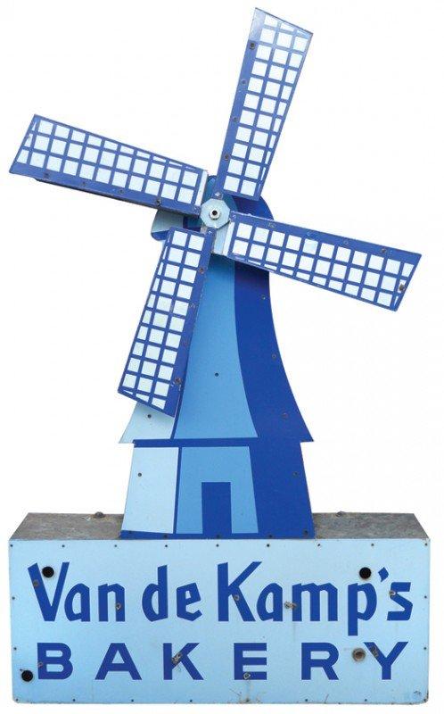 1140: Van de Kamp's Bakery porcelain sign w/rotating wi