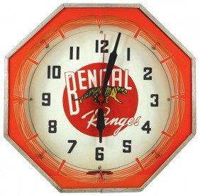 1141: Bengal Ranges neon clock, mfgd by Neon Products I
