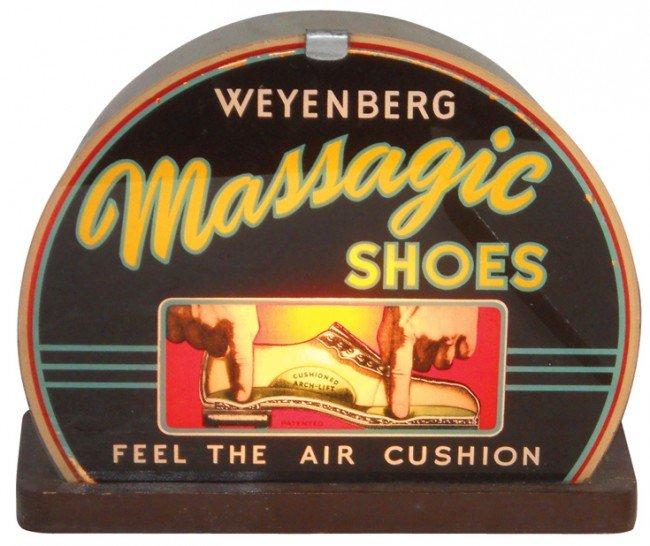 1142: Massagic Shoes light-up sign, reverse-painted gla