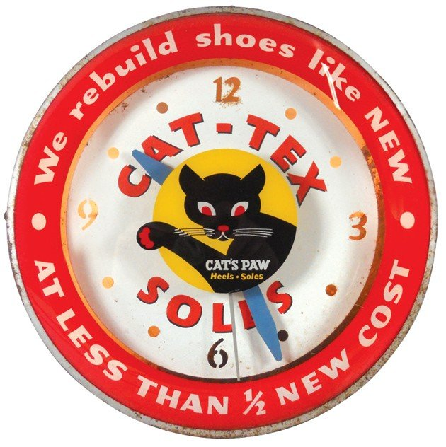 1144: Cat-Tex Soles light-up clock, convex glass w/uniq