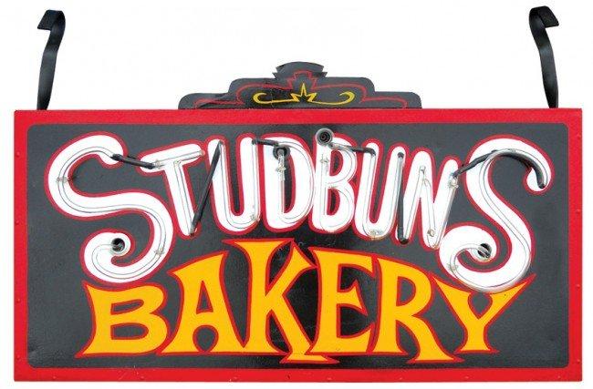 """1145: Studbun's Bakery outdoor neon sign, VG cond, 24""""H"""