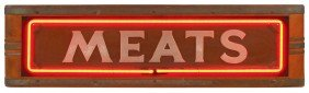 "1147: ""Meats"" neon counter sign, mfgd by Neon Products"