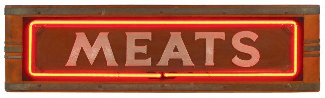 """1147: """"Meats"""" neon counter sign, mfgd by Neon Products"""