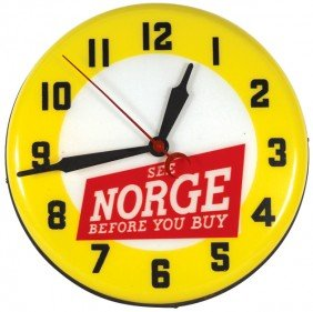 1148: See Norge Before You Buy light-up clock, molded p
