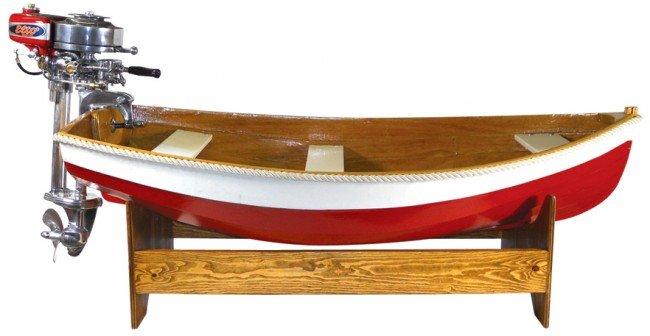 1224: Child's boat w/motor, Evinrude Elto Pal motor, wo