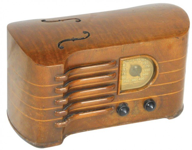 1281: Emerson Violin radio, wood w/Bakelite knobs, VG w