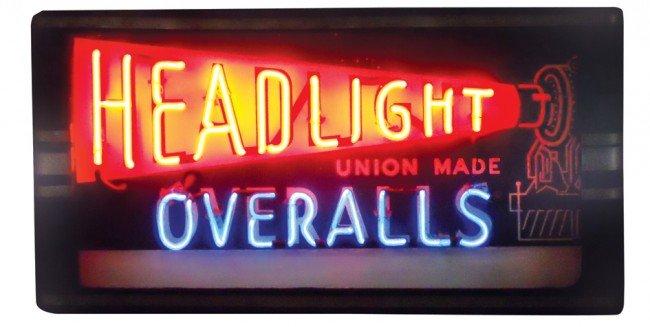 1437: Headlight Overalls neon sign, metal Deco-style ca