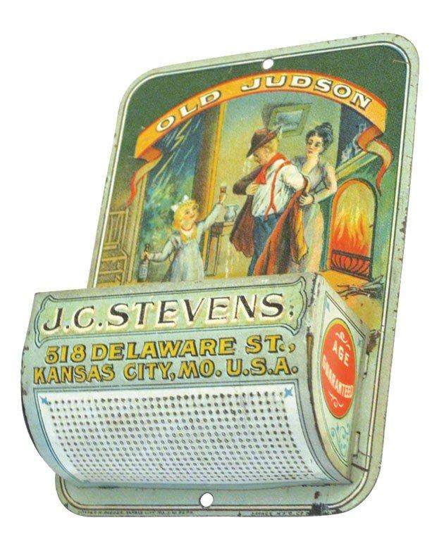 0002: Advertising match holder, J.C. Stevens Old Judson