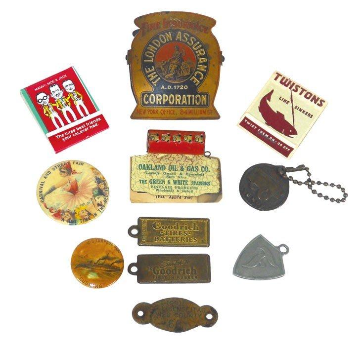 0003: Advertising pinbacks, medallions, buttonhook & au
