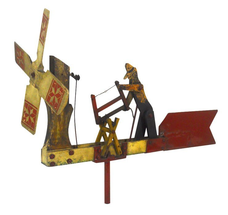 0008: Whirligig, log cutter, metal & painted wood, Falc