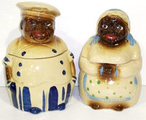 0013: Mammy & Pappy cookie jars, tiny hairline on his l