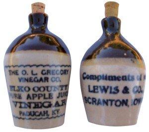 0014: Stoneware miniature advertising jugs (2), Lewis &