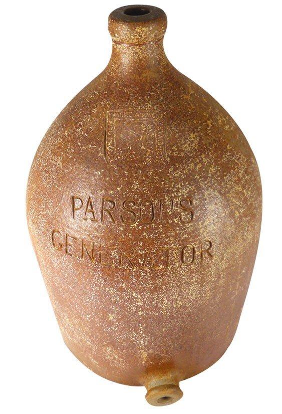0016: Stoneware jug w/bung hole, inscribed Parsons Gene