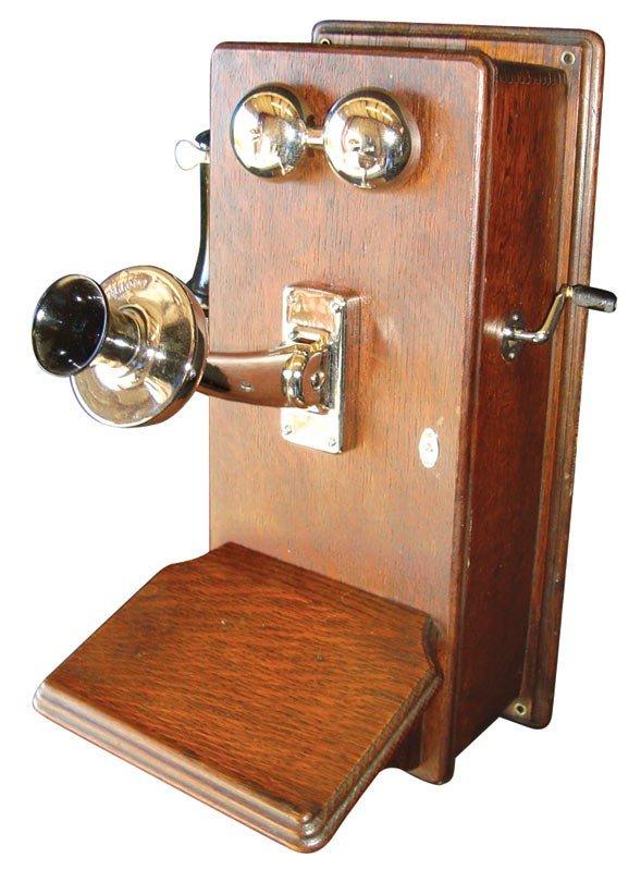 0019: Telephone, oak wall phone w/shelf, Kellogg, early