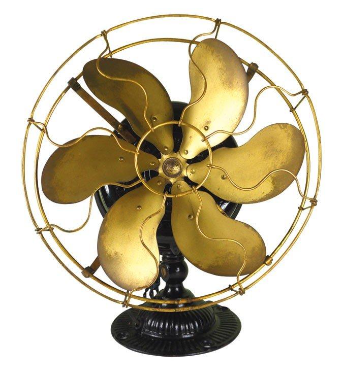 0028: Fan, Emerson No. 454439 6-bladed brass fan, Exc w