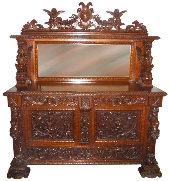 0197: Furniture, R. J. Horner sideboard. Part of a gorg