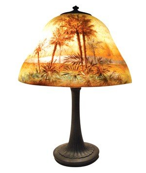 0200: Handel table lamp, reverse-painted textured glass