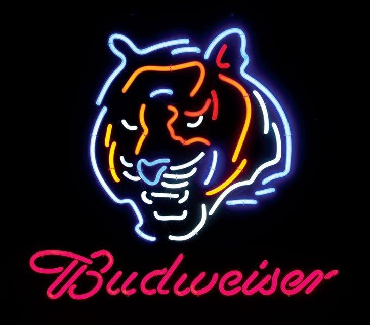 Neon sign, Cincinnati Bengal's, (Bengal's logo), 4-colo