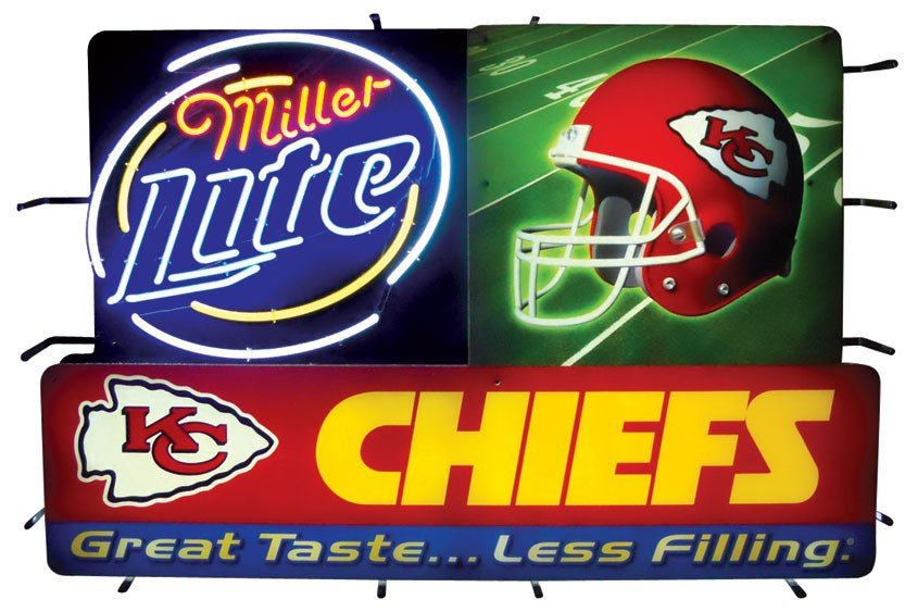 Neon sign, Miller Lite Kansas City Chiefs, a neon backl