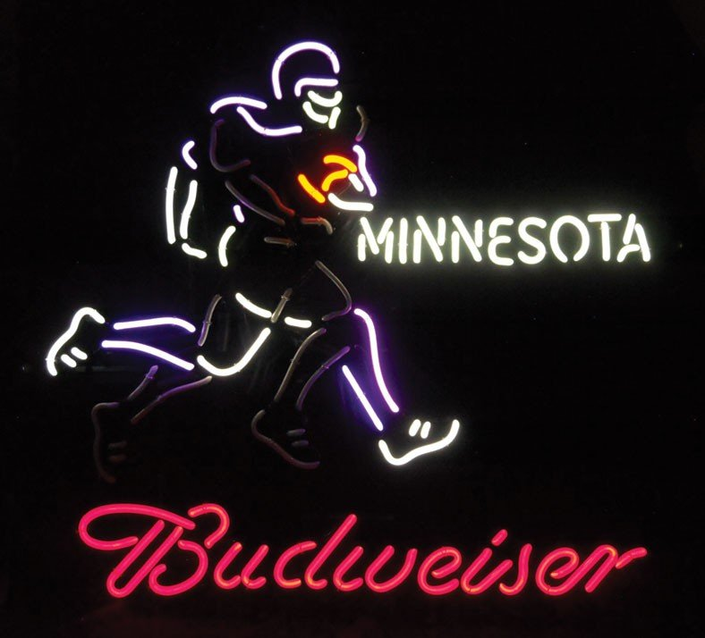 Neon sign, Budweiser, Minnesota football, animated, 4-c