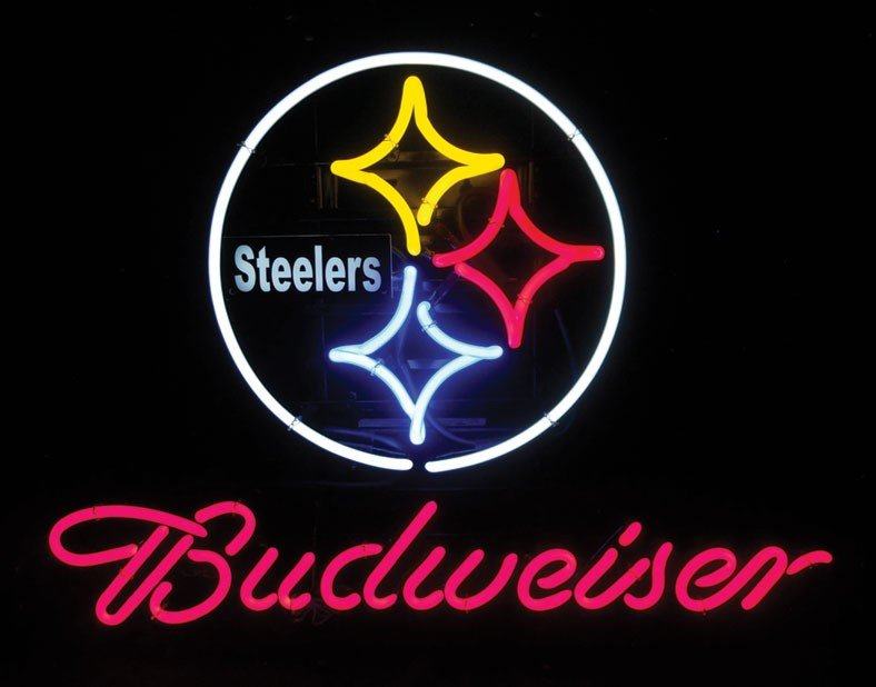 Neon sign, Budweiser, Pittsburg Steelers (Steelers' log