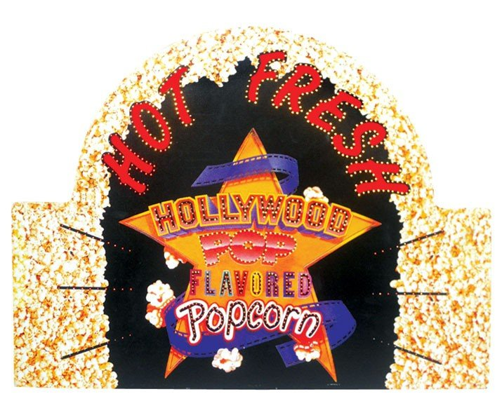 Hollywood Popcorn motion sign, fiber optic w/color whee