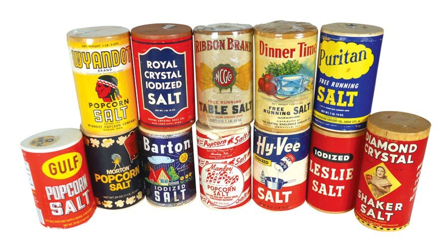 Popcorn salt & table salt containers (12), Barton, Diam