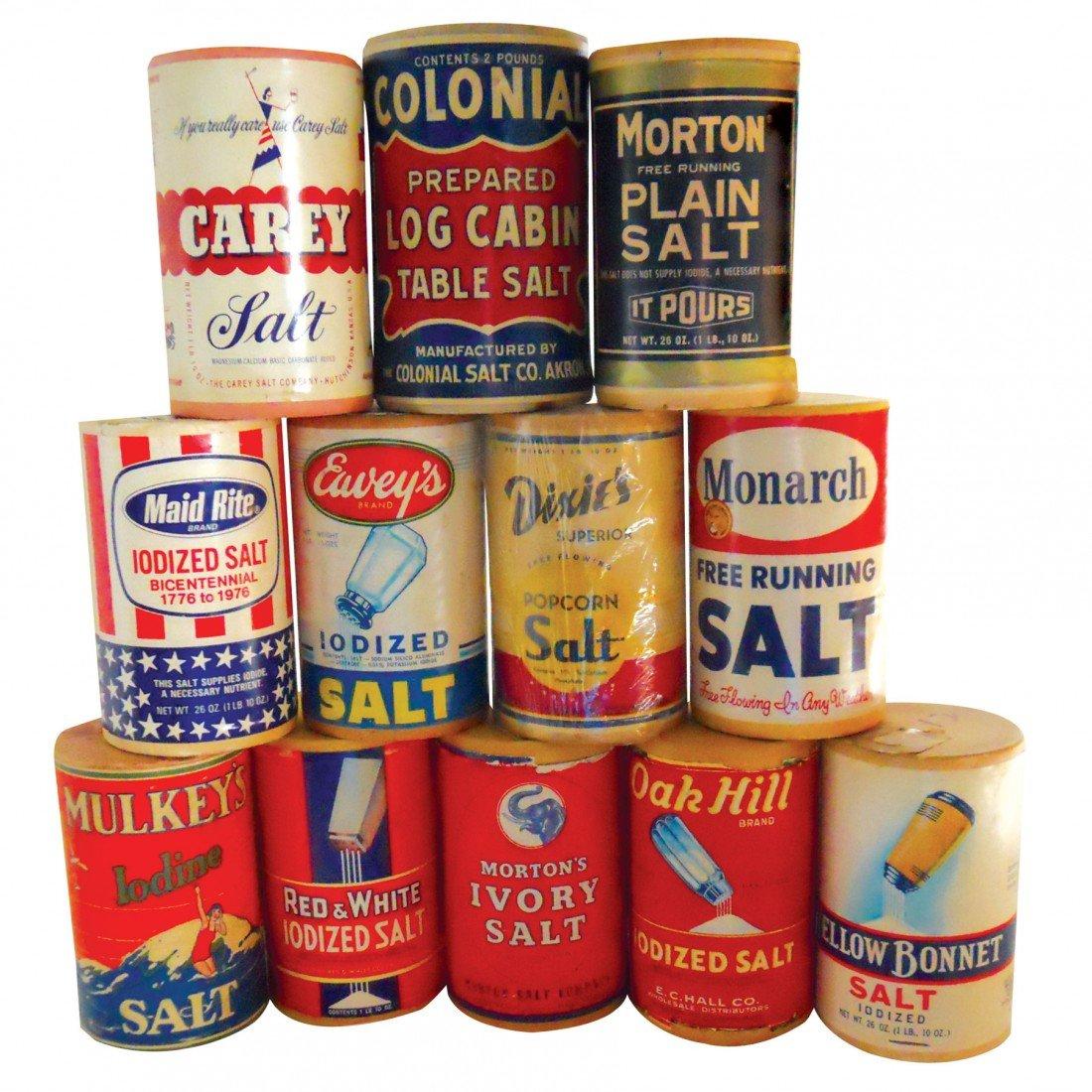 Popcorn salt & table salt containers (12), Carey, Colon