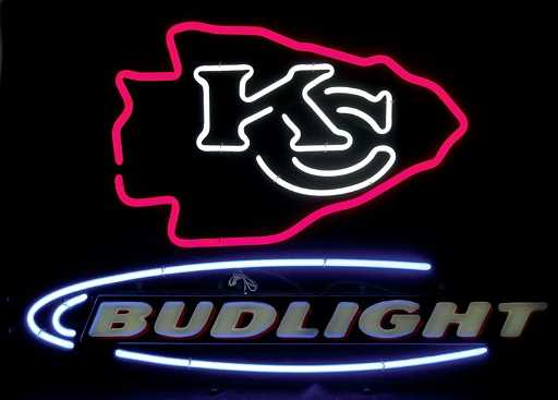 Neon Sign Bud Light Kansas City Chiefs Kc Logo 3
