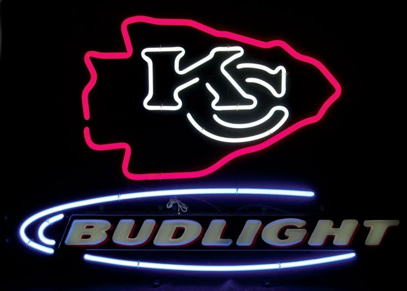Neon sign, Bud Light, Kansas City Chiefs, (KC logo), 3-