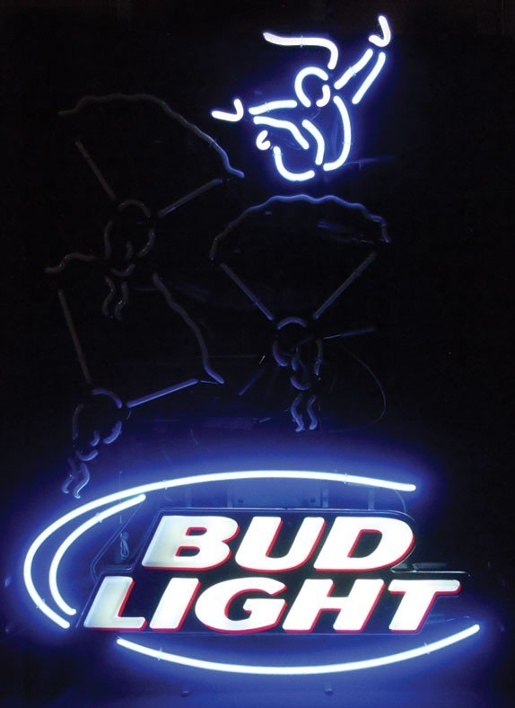 Neon sign, Bud Light, skydiving, animated, 2-color, blu