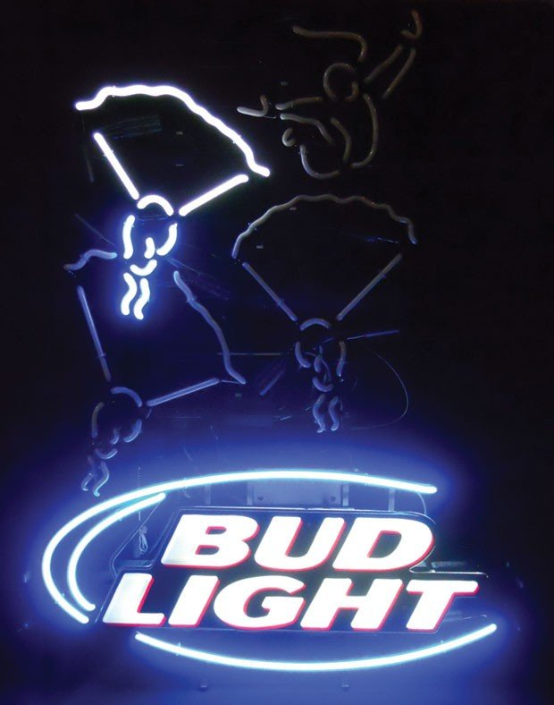 Neon sign, Bud Light, skydiving, animated, 2-color, blu - 2