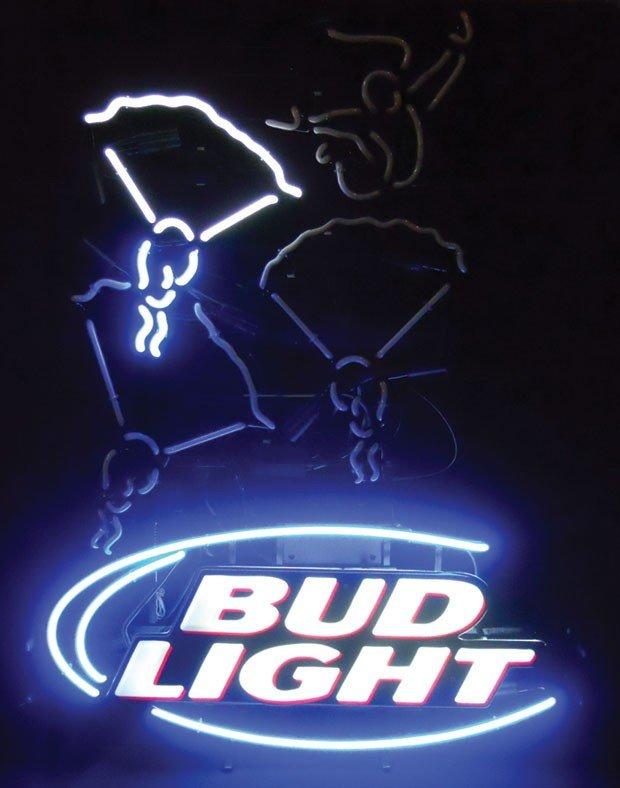Neon sign, Bud Light, skydiving, animated, 2-color, blu - 2
