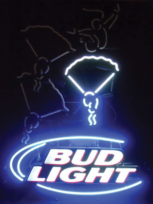Neon sign, Bud Light, skydiving, animated, 2-color, blu - 3