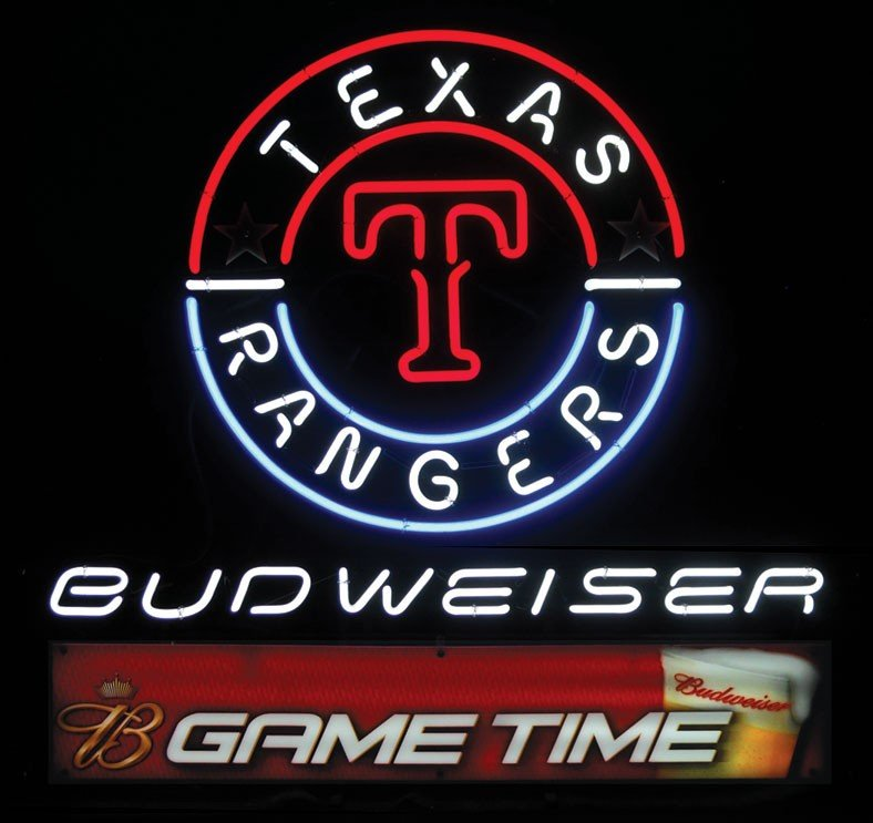 Neon sign, Budweiser Game Time, Texas Rangers, 3-color,