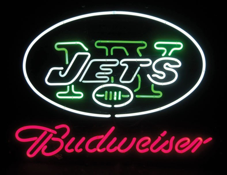 Neon sign, Budweiser, New York Jets, 3-color, red/green