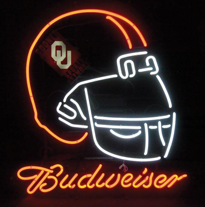 Neon sign, Budweiser, Oklahoma Sooners/OU Sooner's Spor