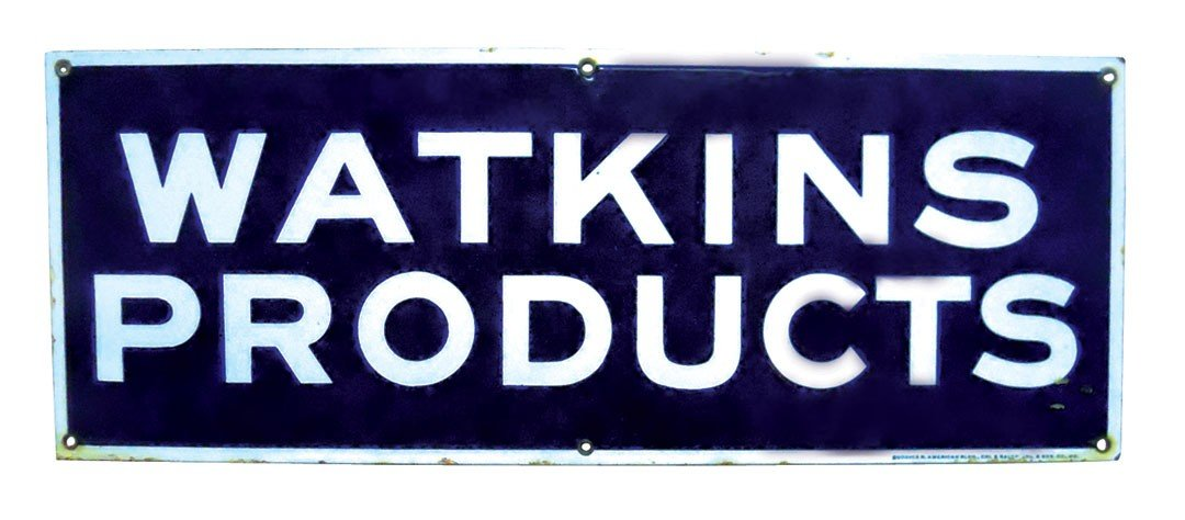 Watkins Products porcelain sign, mfgd by Burdick-Chicag